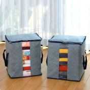 Housweety Bamboo Charcoal Clothes Storage Case Box Holder Bags Grey