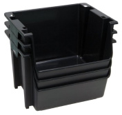 United Solutions Set of Three Large Plastic Nesting Stack Storage Bins, Black