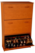 Venture Horizon Stackable Stain Resistant Laminated Triple Wooden Shoe Chest Cabinet - Cherry