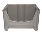 United Solutions Plastic Jumbo Stacking Storage Bin, 48cm - 1.9cm x 38cm - 0.6cm x 30cm - 1.3cm , Taupe
