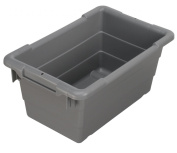Akro-Mils 34301 Cross-Stack Plastic Tote Tub, 43cm by 28cm by 20cm , Case of 6, Grey