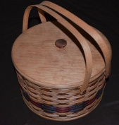 Amish Handcrafted Round Double Pie Basket with Two Swivel Handles, Divider Tray and Lid - Authentic and Collectible Basket Handmade in USA - Natural Basket with Accent Colours Which May Vary