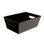 Roosevelt Small Faux Leather Utility Basket - Black