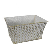 Antique White with Gold Accent Home Decor Basket