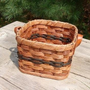 Basket - Napkin - Leather Loop Handlces. Approximately Measures 17cm X 17cm X 12cm . Accent Colours May Vary (Blue, Green, Red, Burgundy, Purple, Brown, Black, or Natural).
