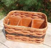 Basket - Napkin and Silverware - Amish Hand Woven Napkin and Silverware Basket Great for Picnics or Organisation of Other Items. The Basket Can Be Used to Hold Scissors, Glue, and Other Scrapbooking Items. The Solid Wood Base Size Is 19cm X 28cm . ..
