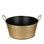 Metal Round Foil Basket with Handle - Gold
