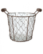 Rustic Large Single Glass Bottle With Wire Basket