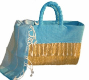 Scents and Feel Fully Lined Palm Leaf Basket with Fringes
