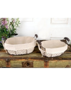 Set of 2 Oval Fabric Wire Baskets with Handles