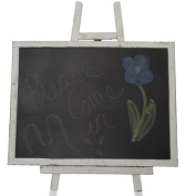 Worn White Wooden Chalkboard with Easel- Large