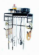 Wall-mounted Jewellery & Accessory Storage Rack Organiser Shelf for Hanging Earrings, Bracelets, Necklaces, & Hair Accessories