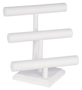 KCF 49132 Jewellery T-Bar Display for Necklace and Bracelets, 3-Tier, White Leatherette, 32cm High