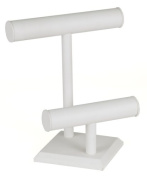 KCF 49133 Jewellery T-Bar Display for Necklace and Bracelets, 2-Tier, White Leatherette, 28cm High