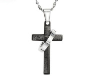 . New Large Cross Stainless Steel Pendant Necklace with Ring & 2 Chains