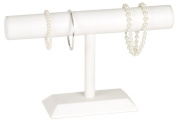 KCF 49136 Jewellery T-Bar Display for Necklace and Bracelets, White Leatherette, 18cm High