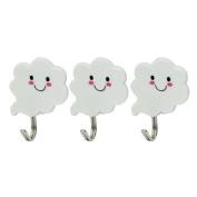 3 White Cloud Self Adhesive Sticky Stick On Hooks Multi Purpose Kitchen Bathroom