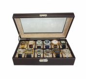12 Piece Chocolate Brown Leatherette Men's Watch Box Display Case Collection Jewellery Box Storage Glass Top