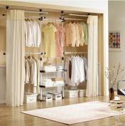 Deluxe 4 Tier & Shelf Hanger with Curtain | Clothing Rack | Closet Organiser