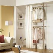 Premium Wood 2 Tier Hanger with Curtain | Clothing Rack | Closet Organiser