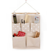 Home-Cube® Linen/Cotton Fabric Wall Door Cloth Hanging Storage Bag Case 5 Pocket Home Organiser Gift