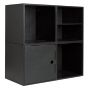 iCube CU0421 Modular Storage Cube System, 4 Cube Kit, Includes 4 Cubes, 1 door, 1 Shelf, and 5 Connector Kits, Black