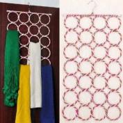 28-Hole Ring Rope Scarf Shawl Storage Slot Holder Hook Hanger Organiser - Random Colour