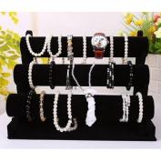 3-Tier Removable Velvet Jewellery Display Shelf Watch Bracelet Holder Stand Rack Black
