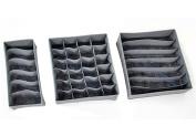Gaorui Foldable Bamboo Charcoal Storage Organiser Box for Underwear Bra Sock Ties 3pc/set _ Grey
