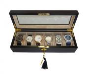 Elegant 6 Piece Ebony Wood Watch Display Case and Storage Organiser Box