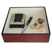 Cherry Wood Lacquer Finish Catchall Coin Case Valet Tray & Catch-all for Keys, Phone, Jewellery, and More