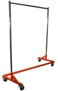 180kg LOAD Commercial Grade Rolling, Z Rack Garment Rack with Nesting Orange Base