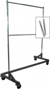 Extended Height Double-Rail Rolling Z Rack Garment Rack with Nesting Black Base