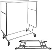 Commercial Grade Double Rail Salesman Collapsible Rolling Garment Clothing Rack