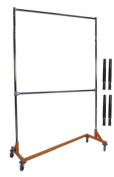 Extended Height Nesting Z-Rack Rolling Garment Rack with Add-On Bar, Commercial Grade