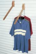 FA Edmunds Wall Mount Wood Downslat Clothing and 9 Garment Display Hanger Rack / Stand