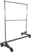 Deluxe Commercial Grade Rolling Z Rack Garment Rack with Nesting Base, 180kg Capacity, Gloss Black Base, Double Bar and Adjustable Height Chrome Uprights