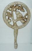 Ivory Cast Iron Bird in a Tree Coat Hook