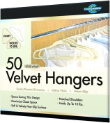 Closet Complete Velvet Hanger Set- No Slip Velvet Suit Hangers- Space Saving Clothes Hangers For Children & Adult Clothes- Great For Skirts, Dresses, Suits, Shirts & More- Slim Ivory Design, Set of 50