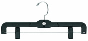 The Great American Hanger Company Plastic Bottoms Hangers with Clips, Black, Box of 100