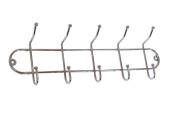 Wall Mounted Chromed Hanger w/ 5 Hooks. 50cm Wx 7.6cm - 0.6cm D X 15cm - 1.9cm H. #38-799