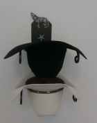 Cowboy Hat Holder Double with Wolf BLK