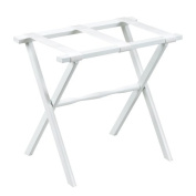 Gate House Furniture Item 1003 White Straight Leg Luggage Rack with 3 White Nylon Straps 23 by 33cm by 50cm