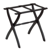 Gate House Furniture Item 1405 Black Contoured Leg Luggage Rack with 3 Black Nylon Straps 23 by 33cm by 50cm