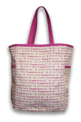 Thro 3990 Peace Love Happiness Printed Canvas Kids Tote with Side Pockets