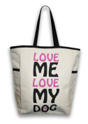 Thro 3998 Love Me Love My Dog Canvas Commuter Tote with Side Pockets, Natural/Black