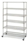 New Chrome Commercial 6 Layer Shelf Adjustable Steel Wire Metal Shelving Rack