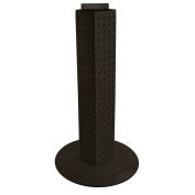 Azar 700222-BLK Pegboard 4-Sided Revolving Counter Display, Black Solid Colour