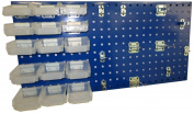 Triton Products LB18-1BHBTR-Kit 46cm W x 90cm H Epoxy Steel Square Hole Pegboard Kit with Mounting Hardware, Blue, 43-Pack