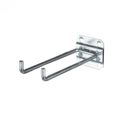 Triton Products 52419 LocHook 10cm Double Rod 90-Degree Bend 0.6cm Diameter Zinc Plated Steel Pegboard Hook for LocBoard, 5-Pack